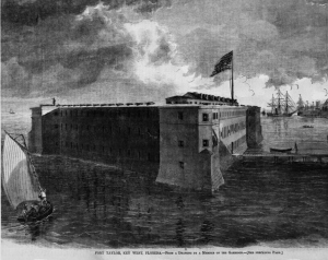 Rendering of Fort Taylor, Key West, Florida, Harper's Weekly, 1864 (public domain).