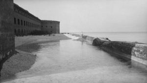 Fort Jefferson's moat and wall, circa 1934, Dry Tortugas, Florida (C.E. Peterson, Library of Congress; public domain)