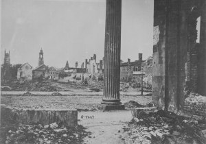 Ruins seen from the Circular Church, Charleston, SC, 1865. Source: U.S. National Archives and Records Administration (111-B-4667, public domain).