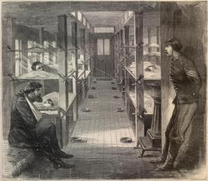 Hospital Train Interior (Harper's Weekly, 24 February 1864, public domain)