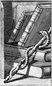 Rod of Aesclepius with Books, (Detail from Edward Sibley's Astrology (1806, public domain)