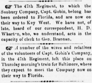 As the 47th Pennsylvania was ordered to Florida and Sunbury families traveled to bid them farewell, Henry Wharton clerked for Brigadier-General Brannan (Sunbury American, 18 January 1862, public domain).