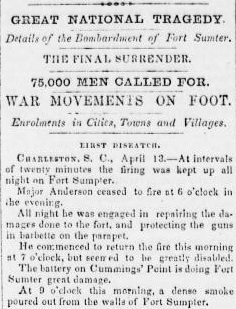 Bombardment of Fort Sumter - 75,000 Troops Called For - Sunbury American 20 Apr 1861