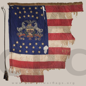First State Color, 47th Regiment, Pennsylvania Volunteer Infantry. Presented to the Regiment by Pennsylvania Governor Andrew Curtin on 20 September 1861. Retired 11 May 1865. Source: Pennsylvania Capitol Preservation Committee (1985.057, State Color, Evans and Hassall, v1p126).