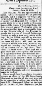 Henry D. Wharton, Sunbury Guards (11th Pa Vols), 30 June 1861