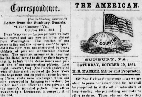 Henry D. Wharton's Civil War letters became so popular with readers of the Sunbury American that they were often featured prominently - on the front page or with the publication's masthead (public domain).