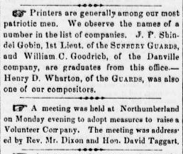 JP Shindel Gobin, William C Goodrich, Henry D Wharton - Civil War Enlistment - Sunbury American 27 Apri 1861