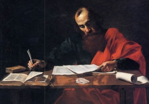 Saint Paul Writing His Epistles (Bulogne, c. 1600, public domain).
