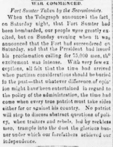 War Commenced Fort Sumter Taken by Secessionists - Sunbury American 20 Apr 1861