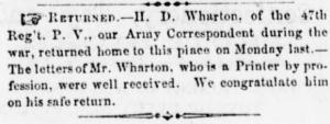 Wharton, Henry D - aka HDW - ID'd by Sunbury American Oct 1865