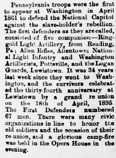 This announcement in the 24 April 1895 Juniata Sentinel helped confirm the status of the Allen Rifles of Lehigh County, Pennsylvania as among the earliest defenders of the Union during the outbreak of the American Civil War.