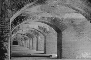 Fort Jefferson, Dry Torguas, Florida (interior, c. 1934, C.E. Peterson, photographer, U.S. Library of Congress, public domain).