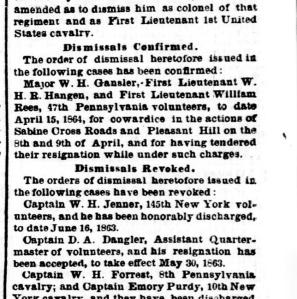 Although the 11 May 1864 Evening Star reported Maj. William Gausler's dismissal, President Lincoln personally overturned the federal government's ruling against Gausler. Image: Public domain, U.S. Library of Congress.