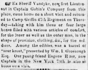 Quartermaster James C. VanDyke procured a holiday surprise for the 47th Pennsylvania Volunteers (Sunbury American, 21 December 1861, public domain).