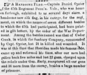Upon return home for his furlough, Capt. Daniel Oyster was given the 47th Pennsylvania Volunteers' new Second State Color (Sunbury American, 11 March 1865, public domain).