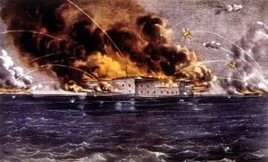 The bombardment of Fort Sumter 12-14 April 1861 (Currier & Ives, public domain).