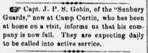 An update by Company C's captain, Sunbury American, 14 September 1861 (public domain).