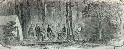 "This public domain illustration is an excerpt from a larger montage of images from the Battle of Falling Waters, Virginia which ran in the 27 edition of Harper's Weekly. ""Council of War"" depicts ""Generals Williams, Cadwallader, Keim, Nagle, Wynkoop, and Colonels Thomas and Longnecker"" strategizing on the eve of battle."