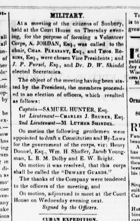 Name Change of Sunbury Greys to Dewart Guards (Sunbury American, 25 May 1850, public domain)