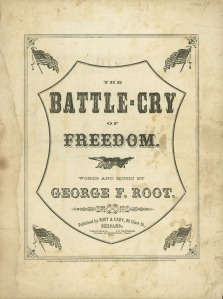 "1862 cover of the sheet music for George F. Root's ""The Battle Cry of Freedom,"" also known as ""Rally Round the Flag (public domain)."