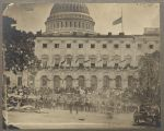 Matthew Brady's photograph of spectators massing for the Grand Review of the Armies, 23-24 May 1865, at the side of the crepe-draped U.S. Capitol, flag at half mast following the assassination of President Abraham Lincoln. (Library of Congress: Public domain.)