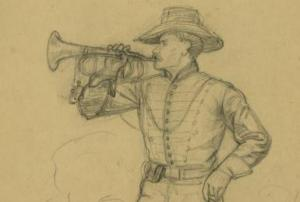 Unidentified Civil War Bugler, Pencil Sketch by Alfred Waud (U.S. Library of Congress, public domain).