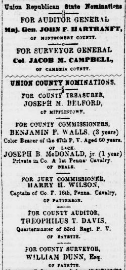 In 1865, after returning from the Civil War, Benjamin F. Walls was nominated for political office. Source: Sunbury American, 13 September 1865 (public domain).