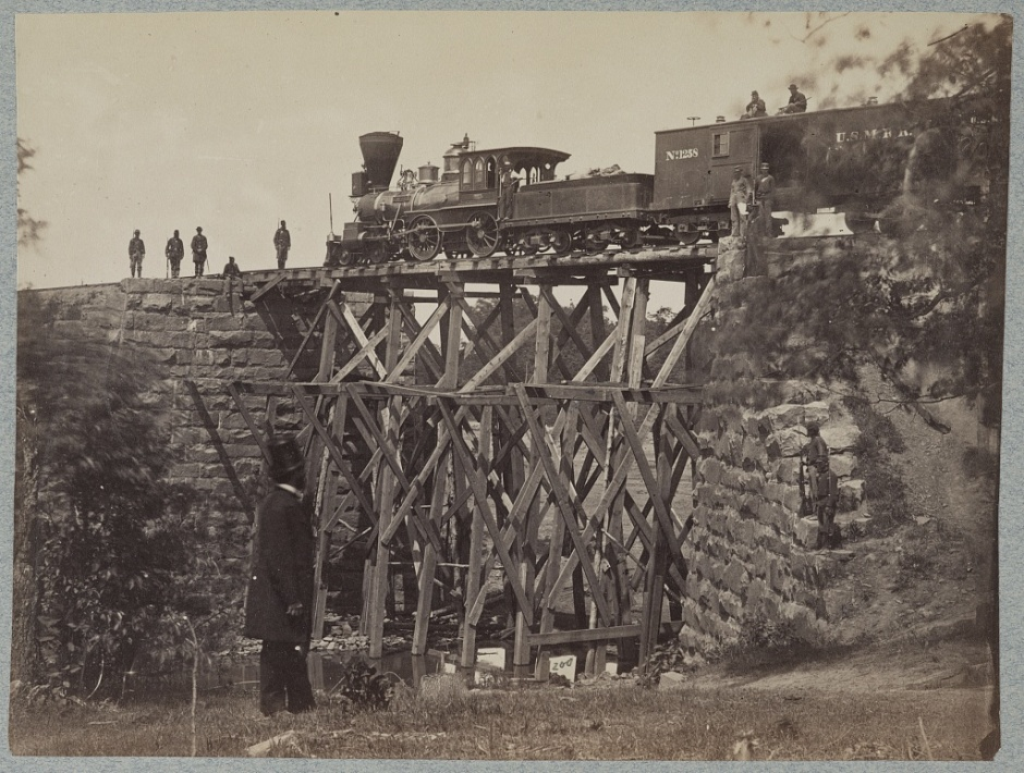 Bridge and Train, Orange and Alexandria Railroad, c. 1861-1865 (Library of Congress, public domain).