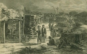 This image from the 4 March 1865 edition of Harper's Weekly depicts life at Camp Ford. The largest Confederate Army prison camp west of the Mississippi. (Source: Harper's Weekly, 4 March 1865; public domain).