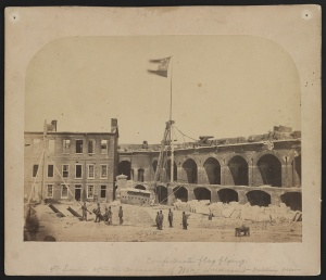 Alma Pelot's photo of the Confederate flag flying above Fort Sumter 16 April 1861 (public domain, Library of Congress).