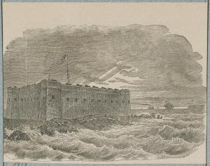 Woodcut depicting the harsh climate at Fort Taylor in Key West, Florida during the Civil War. (Public domain, U.S. Library of Congress.)