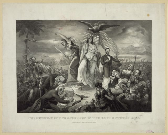 Liberty (center, crowned with laurel wreath and Phryghian cap) was guarded by President Abraham Lincoln (right) and a figure of Justice (standing clear-eyed, without blindfold at left, wielding scales and sword) while President James Buchanan slept at the feet of Justice, Buchanan's secretary of war greedily grabbed at coins, Confederate President Jefferson Davis stood by a tree ensnared by a snake (left), and a sunrise (upper right) offers a glimmer of hope in this 1866 lithograph by Charles Kimmel. Source: U.S. Library of Congress (public domain).