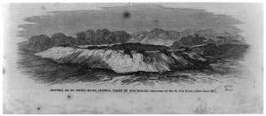 J.H. Schell's 1862 illustration showing the earthen works which surrounded the Confederate battery atop Saint John's Bluff along the Saint John's River in Florida (public domain).