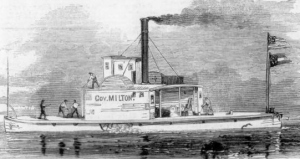 The rebel steamer Governor Milton, captured by the U.S. flotilla in St. John's River, Florida, Frank Leslie's illustrated newspaper). Courtesy: State Archives of Florida, Florida Memory Project (public domain).