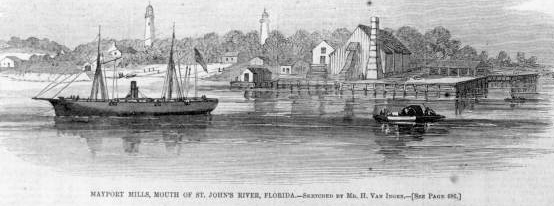 Illustration of the Union Navy's base of operations, Mayport Mills, circa 1862 (public domain).