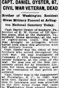 Captain Daniel Oyster - Death Headline, Evening Star, Washington, D.C. (11 August 1922).