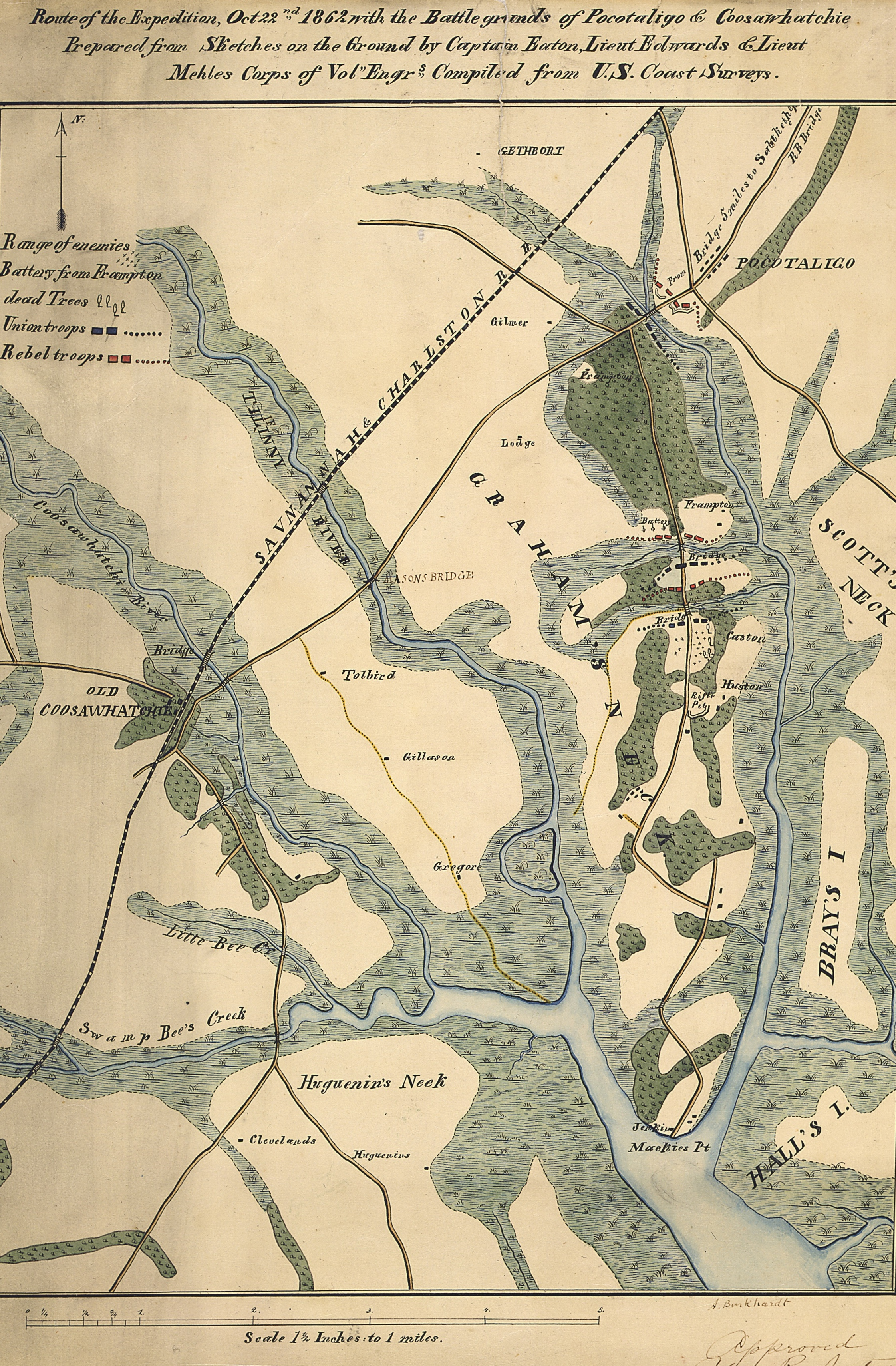 union army map of the pocotaligo coosawhatchie expedition 21 23 october 1862