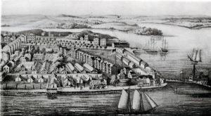 U.S. Naval Academy Barracks and temporary hospital, Annapolis, Maryland, c. 1861-1865 (public domain).