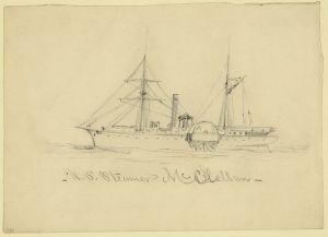U.S. Steamer McClellan (Alfred Waud, c. 1860-1865, U.S. Library of Congress, public domain).