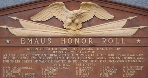 Emaus Honor Roll (Civil War veterans' list), Emmaus, Lehigh, Pennsylvania