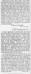 Henry Wharton Camp Advance Letter 29 Sep 1861, Sunbury American, 2 Oct 1861