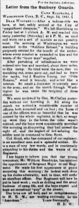 Henry Wharton's Camp Kalorama Letter 22 Sep 1861, Sunbury American, 28 Sep 1861