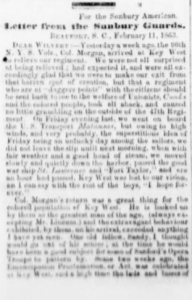 Henry D. Wharton's Letter Home, 11 February 1863, part 1 (Sunbury American, 7 March 1863)