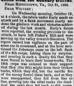 Henry D. Wharton Letter, 21 October 1864, Cedar Creek, part 1 (Sunbury American, 29 October 1864)
