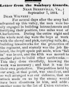 Henry D. Wharton Letter, 7 Sept 1864, Berryville Wounded, part 1 (Sunbury American, 24 September 1864)