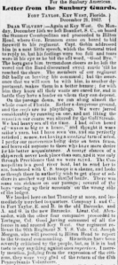 Brig. Gen. Brannan's Departure from Fort Taylor, Pt. 2 (Henry D. Wharton Letter, 21 Dec 1862 in Sunbury American,10 Jan1863)