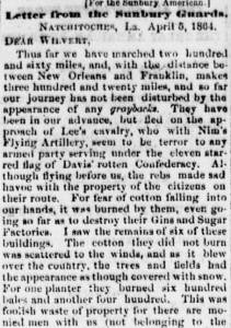 Henry D. Wharton's Letter from Natchitoches, LA 5 April 1864 (Sunbury American, 7 May 1864)