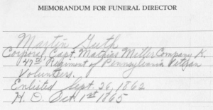 Captain Miller's leadership style evidently made an impression on at least one young corporal. At the time of his passing nearly three quarters of a century later, the funeral records of Martin L. Guth noted that Corporal Guth had served under Captain Miller.