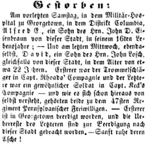 Alfred Eisenbraun's Obituary, Der Lecha Caunty Patriot (6 November 1861, public domain).