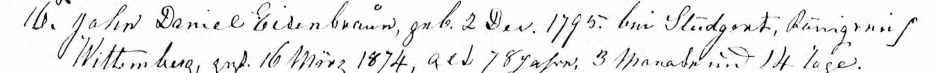 John Daniel Eisenbraun Baptismal Record, 16 March 1874, St. Paul's Lutheran Church, Allentown, PA, public domain).